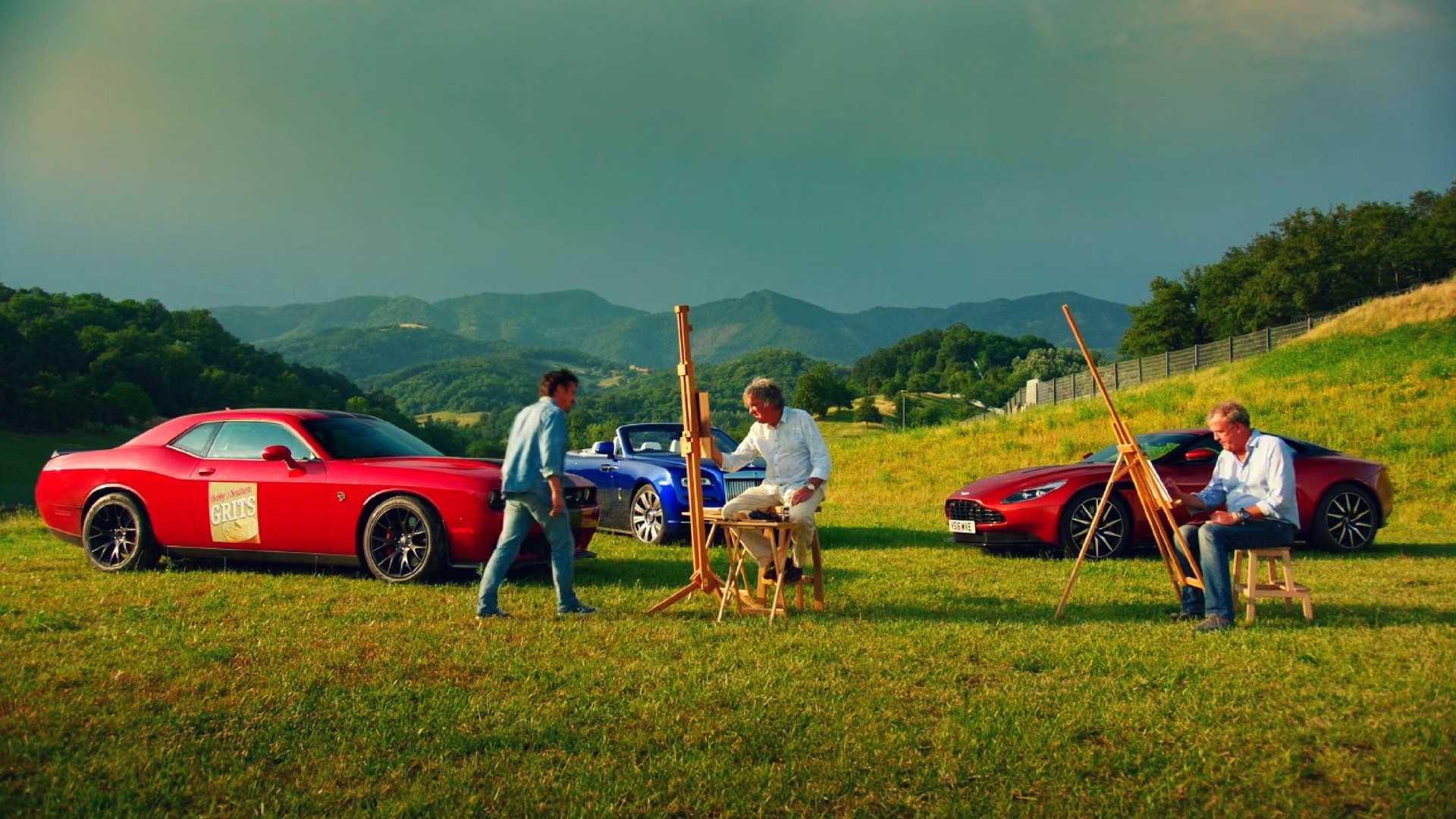 Clarkson Hammond and May painting their cars during The Grand Tour Episode 3